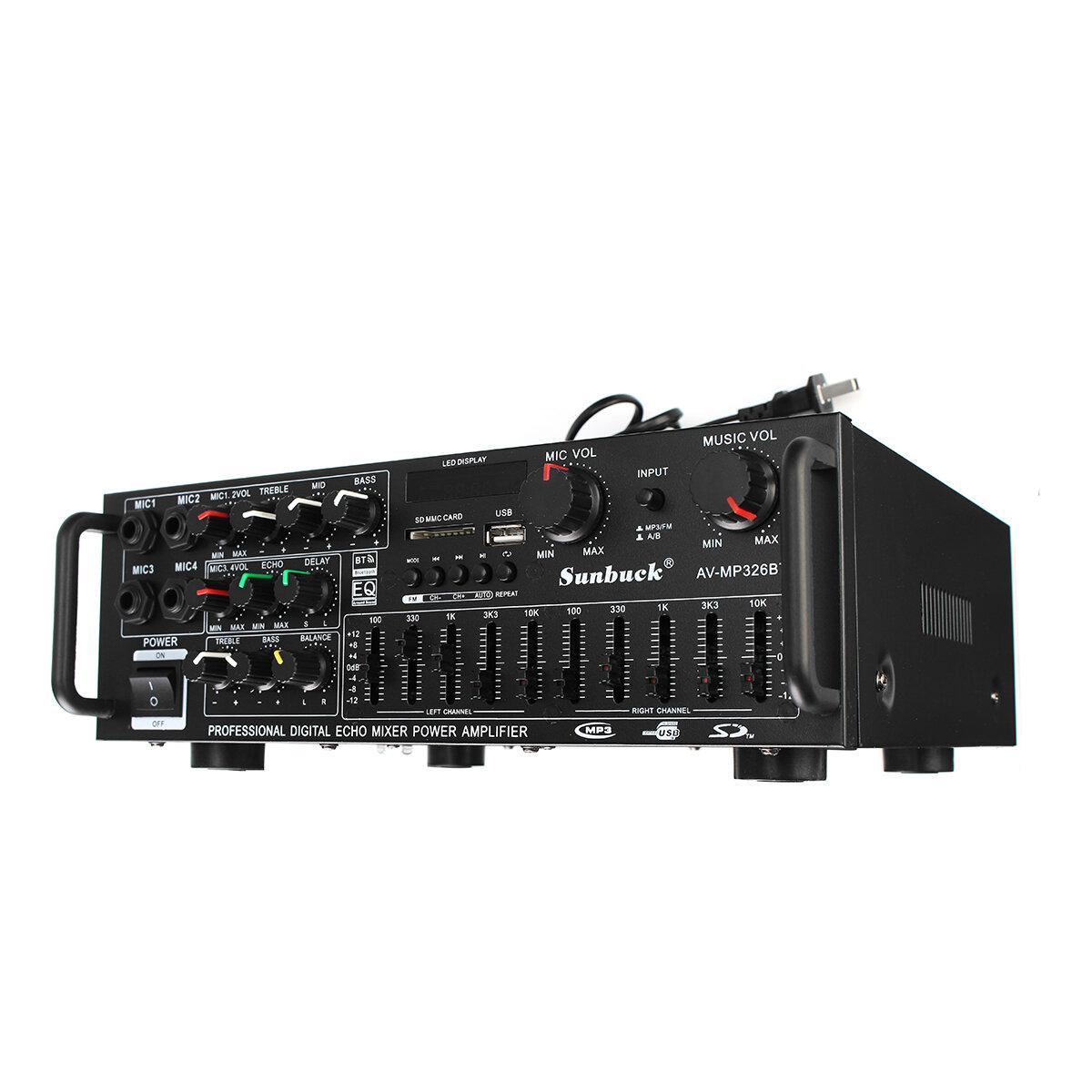 Sunbuck AV-MP326BT 220V 800W 4 ohm 2CH EQ bluetooth Stereo Amplifier Support USB Disk SD Card