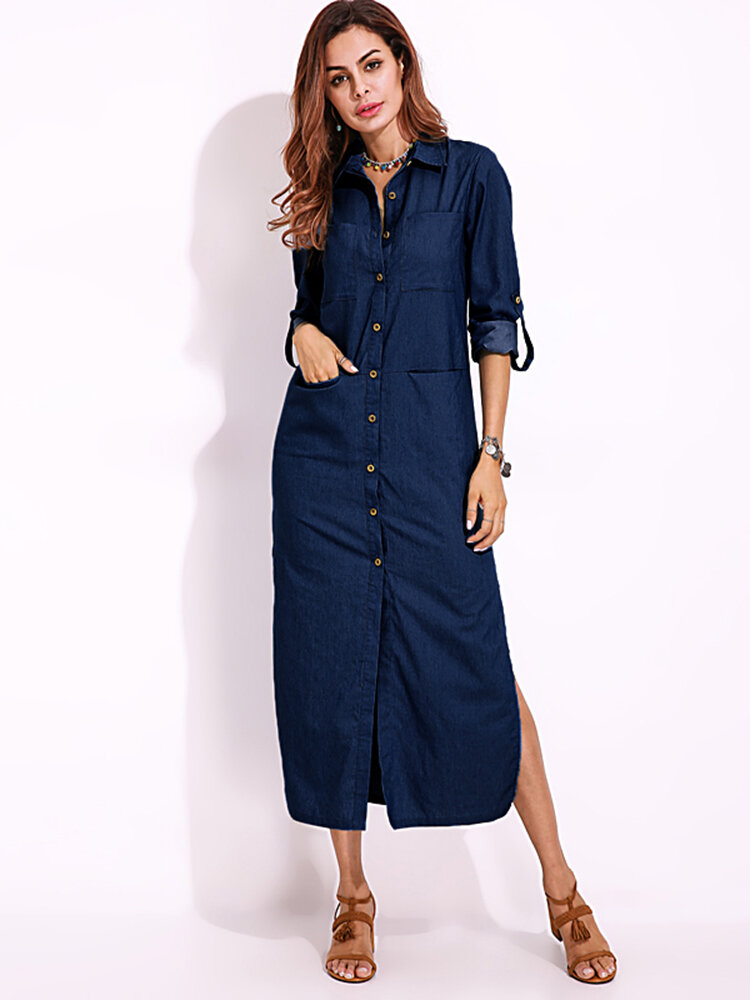 Kemeja Lengan Panjang Denim Dress Warna Solid Turn-down Collar Button Dress