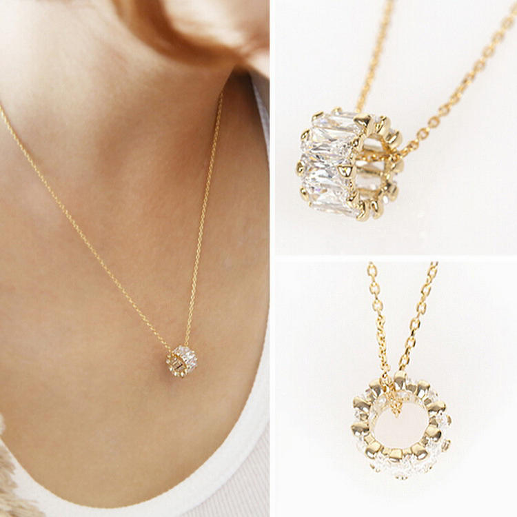 S925 Sterling Silver Short Zircon Crystal Simple Chain Sweet
