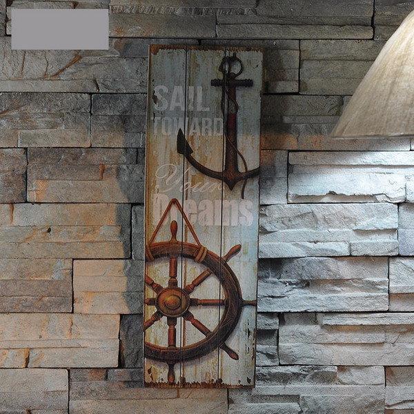 Decoración náutica muestra de madera rústica arte de la pared de la placa imagen del faro diseño del ancla