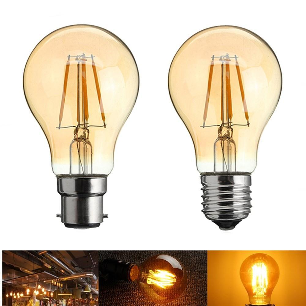 A60 E27/B22 4W Retro LED Filament Incandescent Light Bulb for Bedroom Decoration AC220-240V