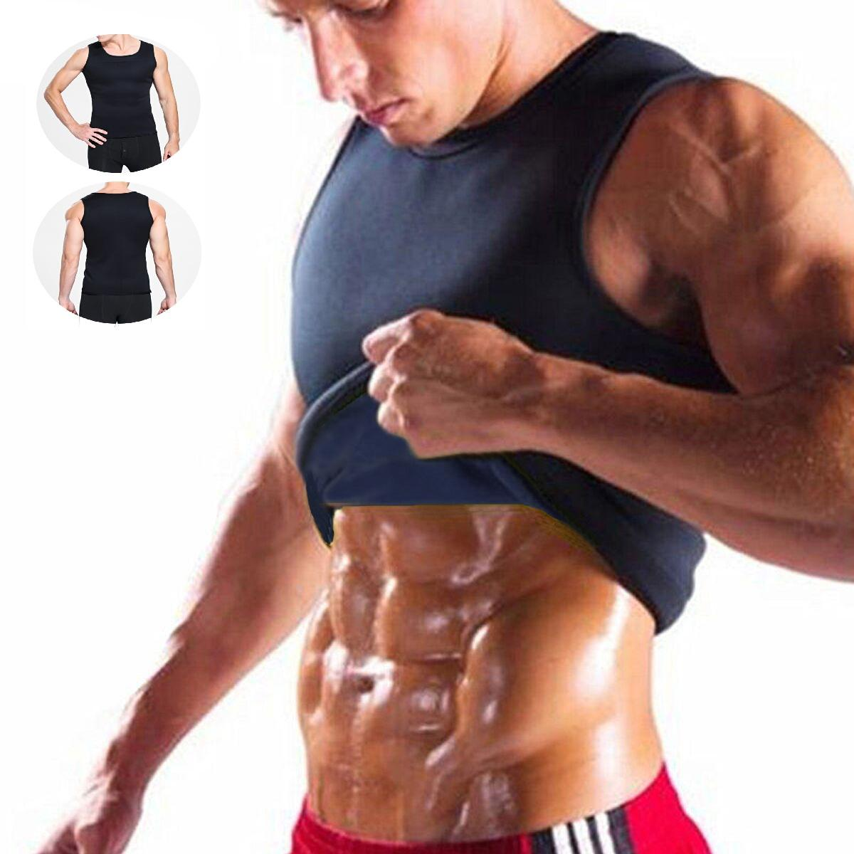 Sweat Sauna Body Shaper Men Vest Thermo Neoprene Trainer Sliming Waist Belt Tracksuit Black