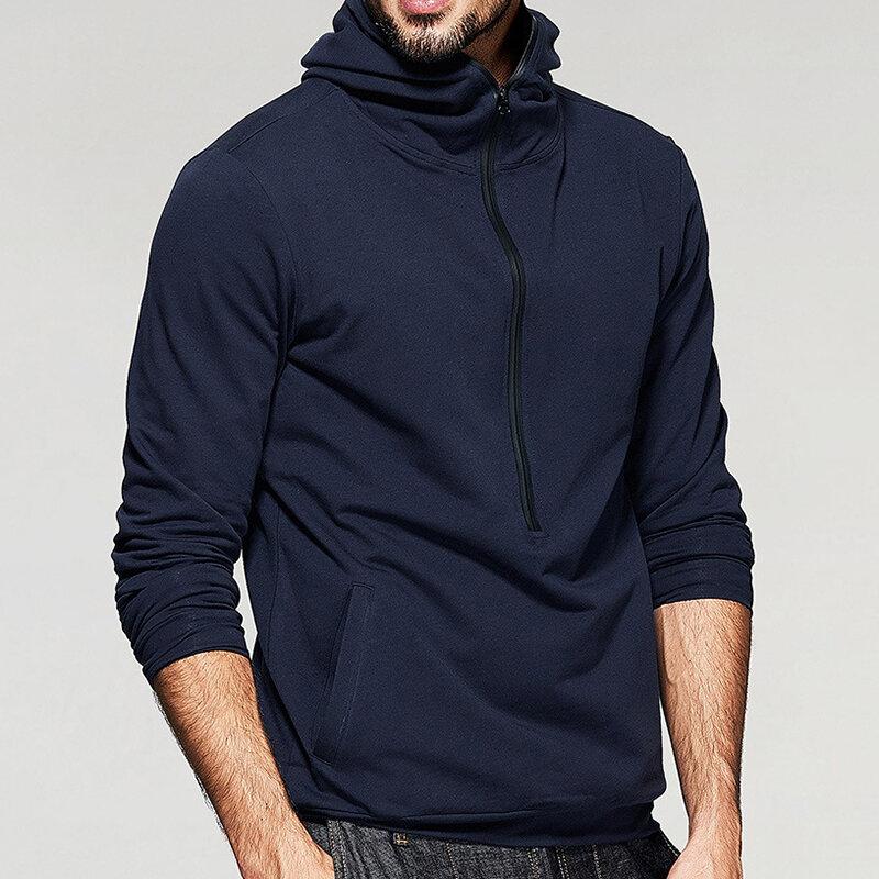 पुरुषों की फैशन जिपर कॉलर हुडेड ठोस रंग लंबी आस्तीन आरामदायक ओवरहेड sweatshirt