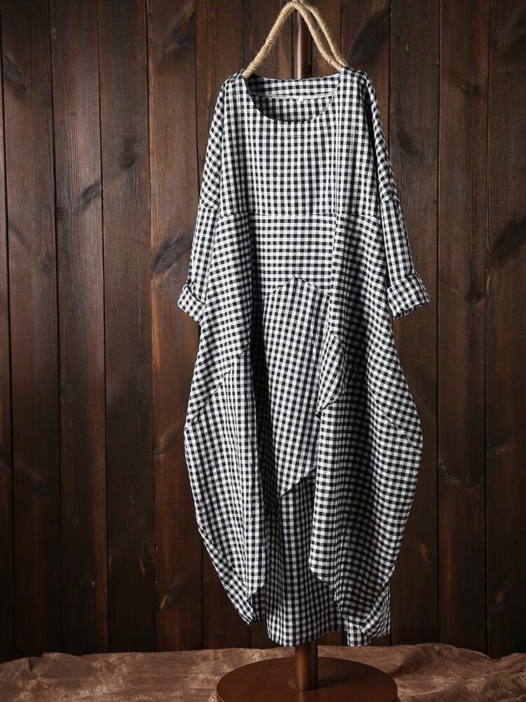 Women Plaid Irregular Hem Dress with Pockets