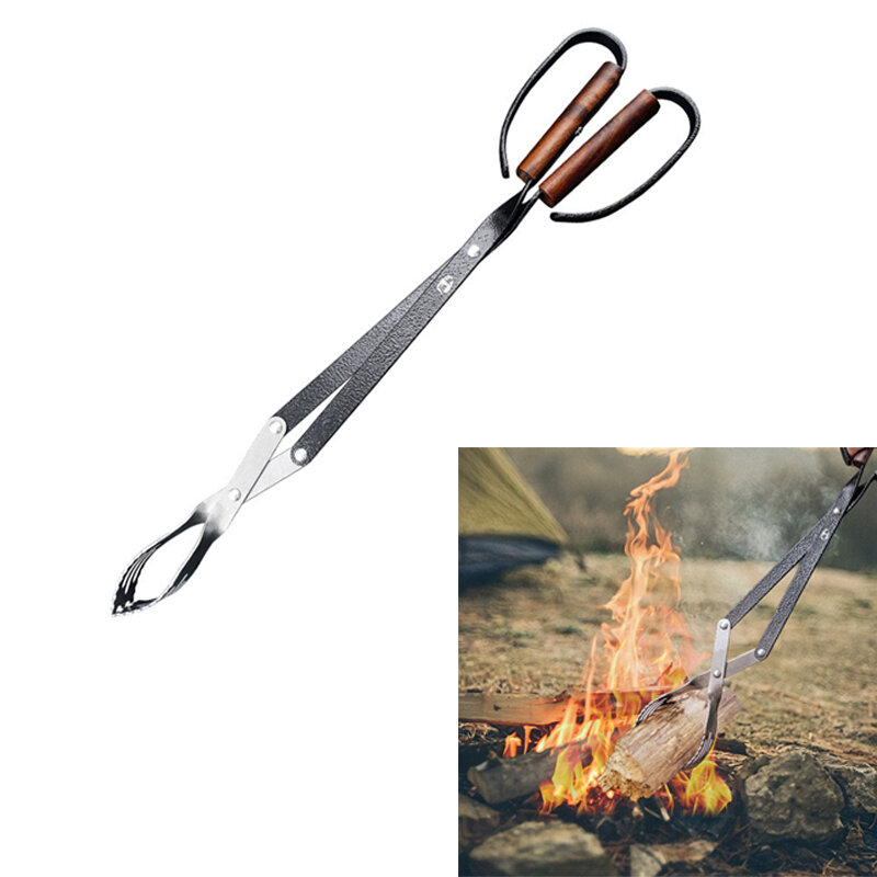 HX OUTDOORS Stainless Steel Firewood Pliers High Temperature Resistant Portable Fetching Fire Wood Charcoal Clamps Outdo