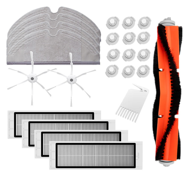 24PCS Accessories for Roborock Vacuum Cleaner Main Brush*1 White Brush*1 Filters*4 Side Brushes*6 Mop Cloths*4 Water Tan фото