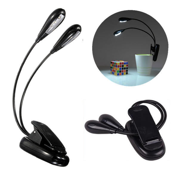 Flexible Dual Arm 8 LED Clip Desk Light Book Reading Laptop Stand Lamp