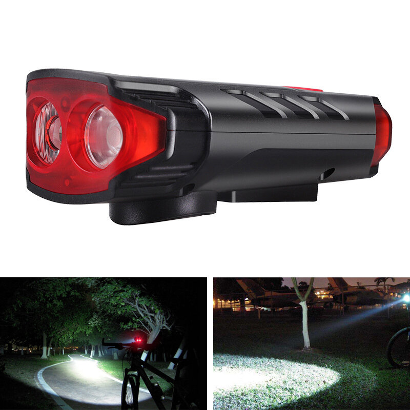 XANES® 5-Modes 2*T6 LED Solar Bicycle Headlights 6-Horns Sounds Waterproof Bike Light For Mountain Bike Night Ridingf Cy