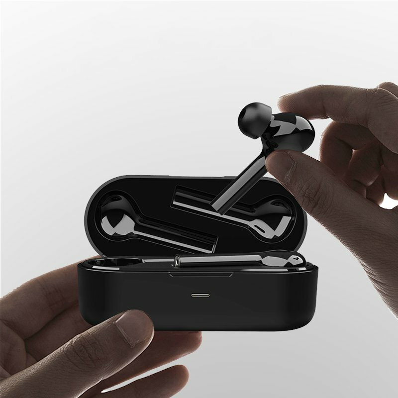 [bluetooth 5.0] JS18 TWS Wireless Stereo Freebud Earphone Graphene Driver Noise Cancelling Smart Touch Binaural Call Headphone for Xiaomi Huawei - Black