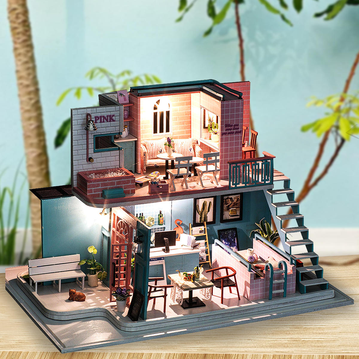 Magnificent Handmade 3D Wooden Miniatures Doll House Pink Cafe Dollhouse Furniture Diy Miniature Toys For Girls Birthday Gifts Interior Design Ideas Tzicisoteloinfo