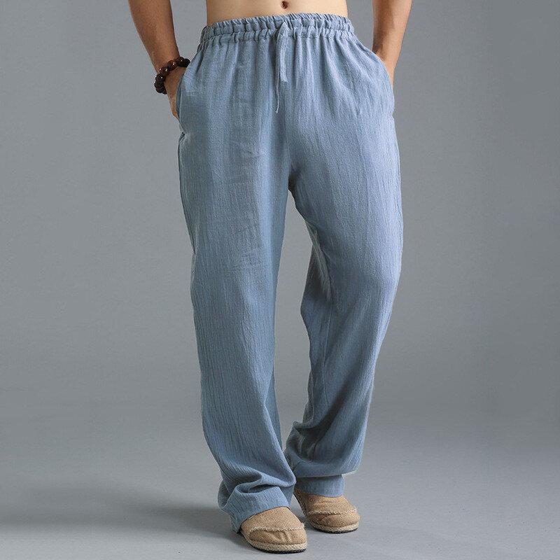 INCERUN Mens וינטג מקרית בג'י מוצק צבע מחרוזת סינית סגנון מכנסיים רופפים