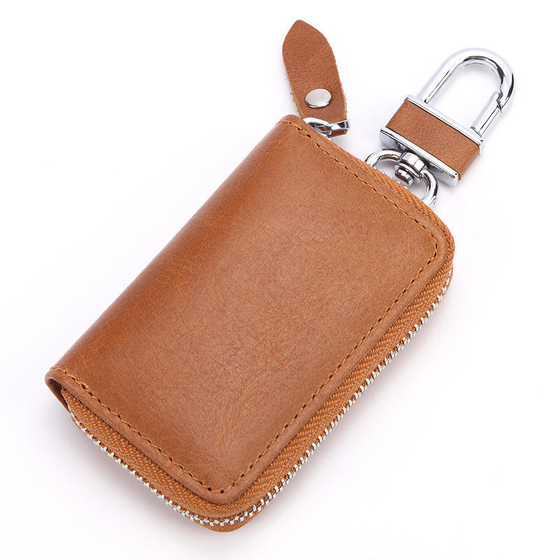 Key Case Leather Card Holder Zipper Key Chain Bag Short Purse Wallets Coins Bag