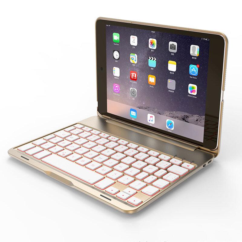 7 farger Baklyset aluminium Bluetooth tastatur Kickstand Case For iPad Mini 2/iPad Mini 3