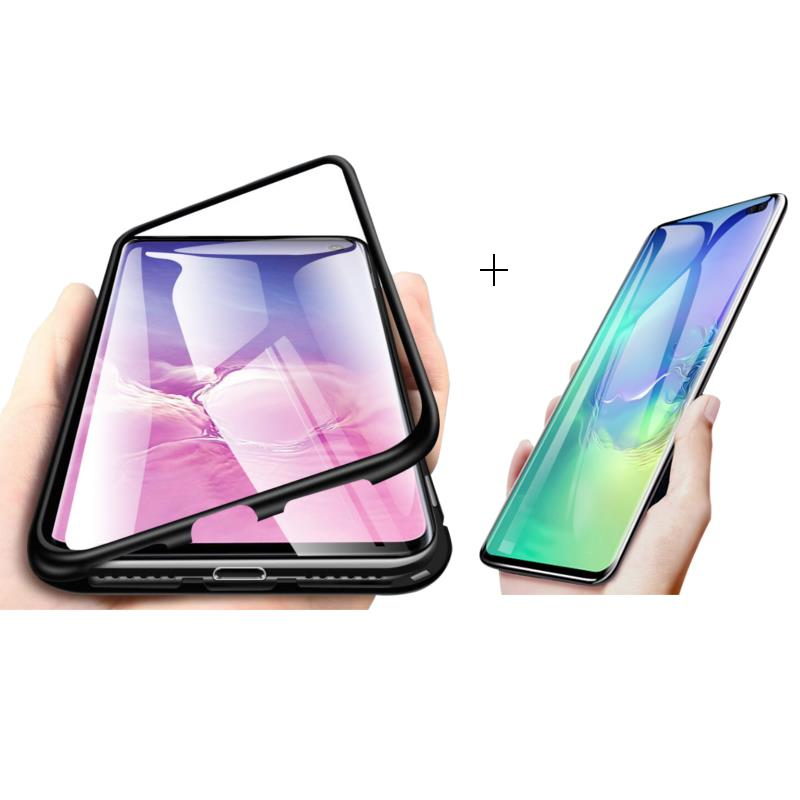 Samsung Bakeey Magnetic Adsorption Aluminum Alloy Tempered Glass Protective Case + 2 Packs Kisscase 10D Hydrogel Screen Protecto фото