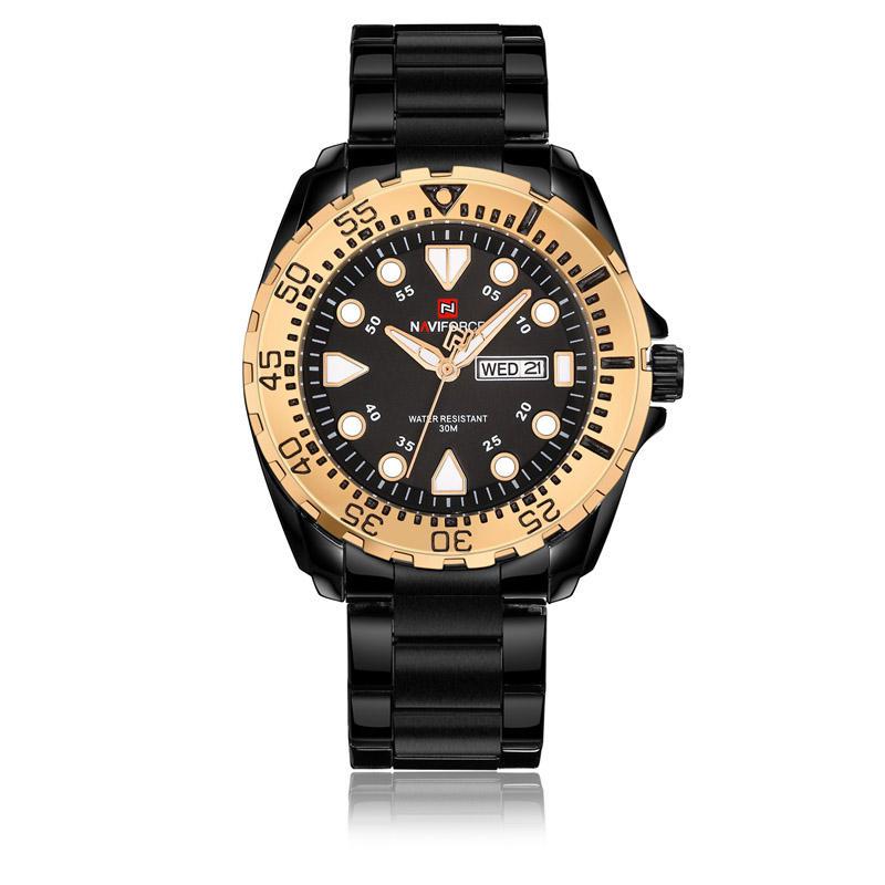 NAVIFORCE 9105 Business Style Pria Jam tangan Besi tahan karat Analog Kuarsa Watch