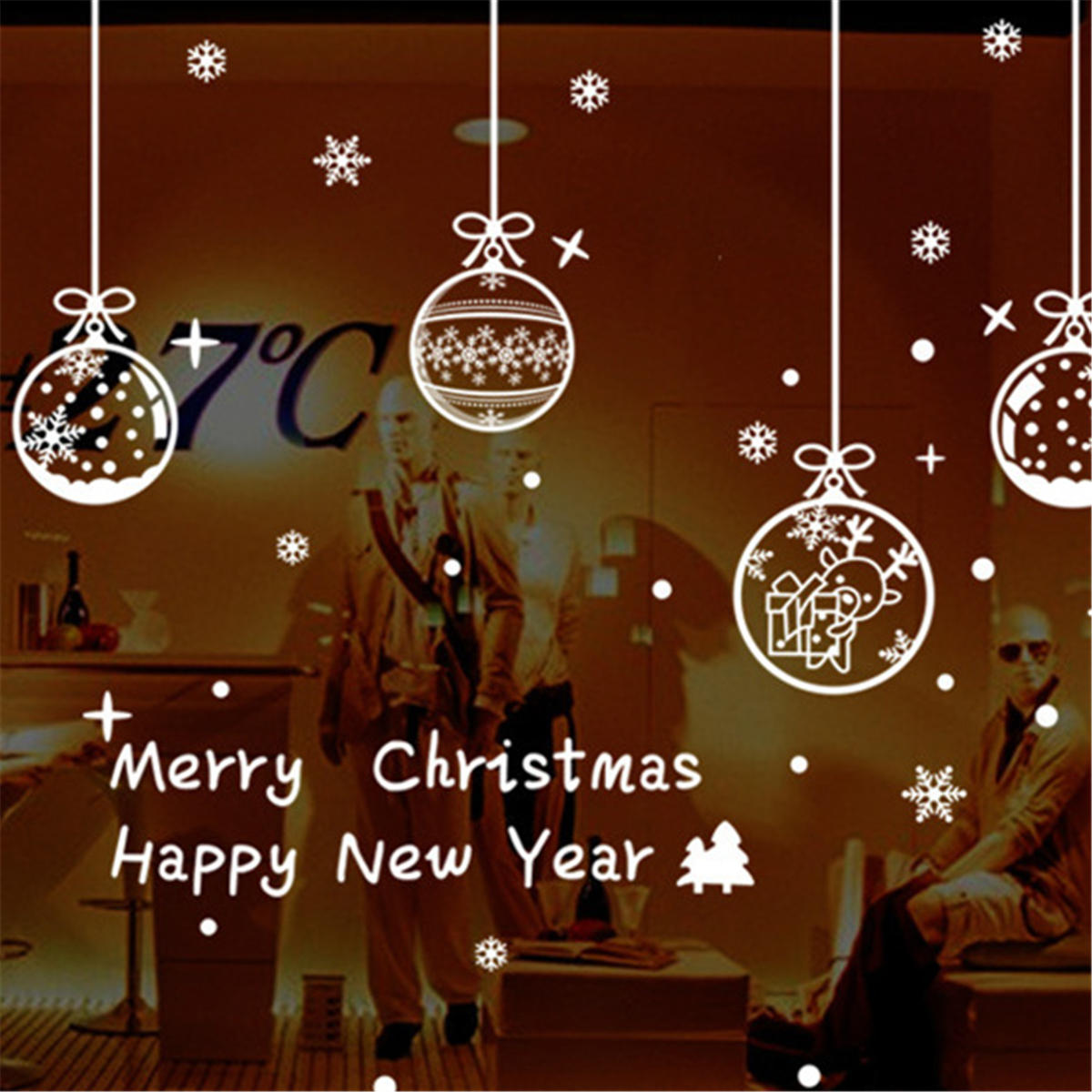 Christmas Window Decals.Happy New Year Xmas Merry Christmas Window Sticker Snowflake Bell Home Decorations