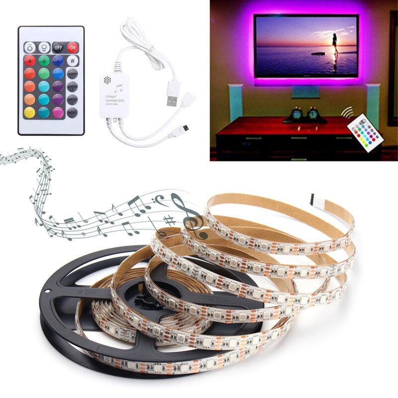 0.5M/1M/1.5M/2M/3M/4M Music Sound Activated Waterproof RGB 5050 LED Strip Light Kit DC5V фото