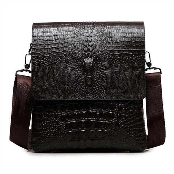 Men Business PU Alligator Grain Black Brown Shoulder Crossbody Messenger Bag Briefcase фото