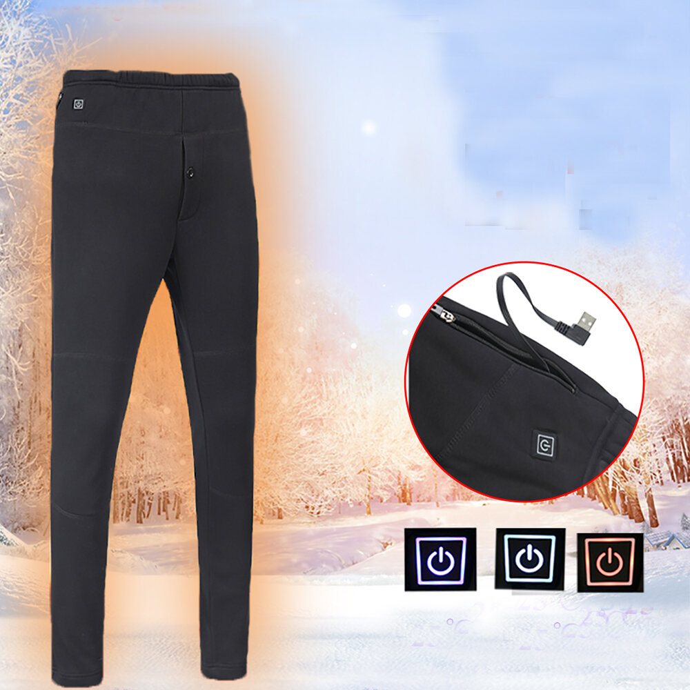 Men Women Outdoor Sports Heating Pants Winter Warm Electric Heated Trousers Elastic Leggings