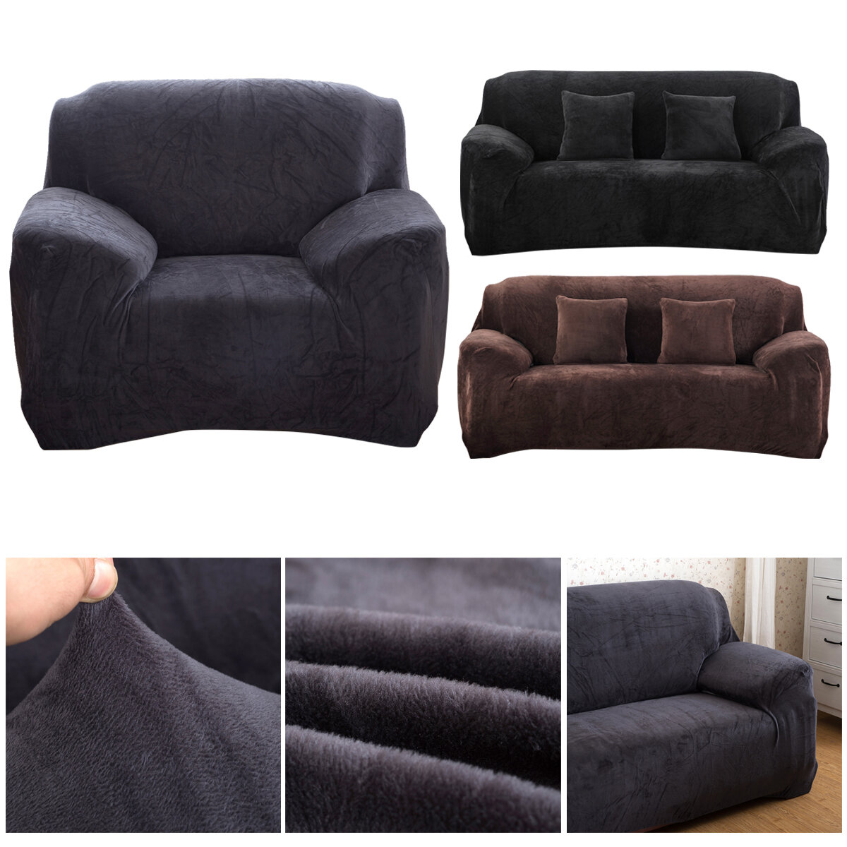 MEIGAR 1/2/3 Seats Elastic Stretch Sofa Armchair Cover Universal Couch Slipcover Plush Warm For Autumn Winter