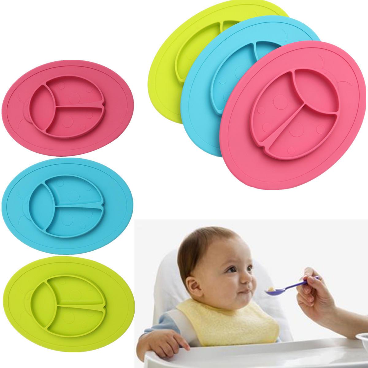 Baby Silicone Placemat Kids Indelad Skål Skivplattor Köksplattor