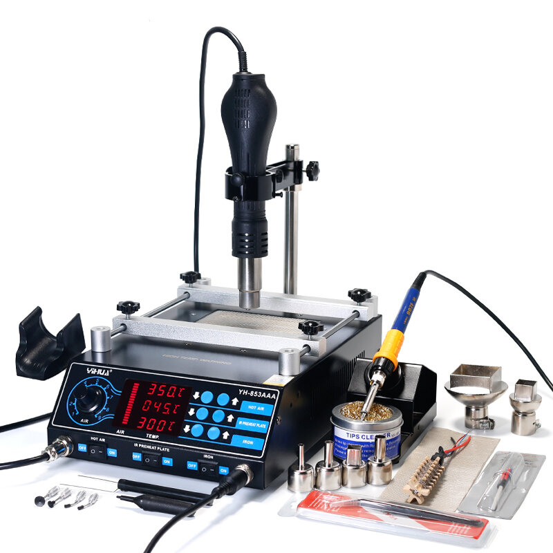YIHUA 853AAA 220V 3 In 1 Preheating Station Infrared BGA Rework Soldering Station Hot Air Heater
