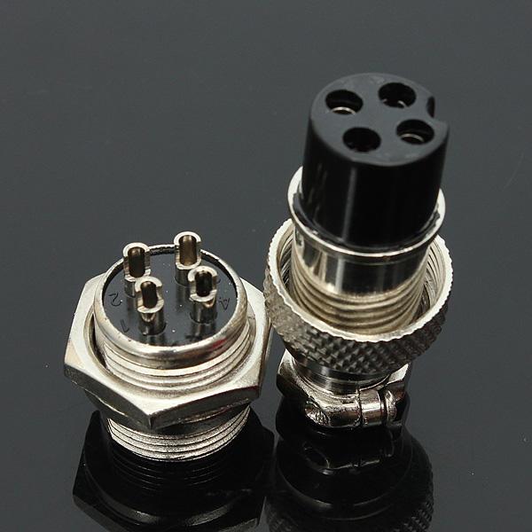 5 Pcs GX16-4 4-Pin 16mm Penerbangan Pug Laki-laki dan Perempuan Konektor Panel Logam