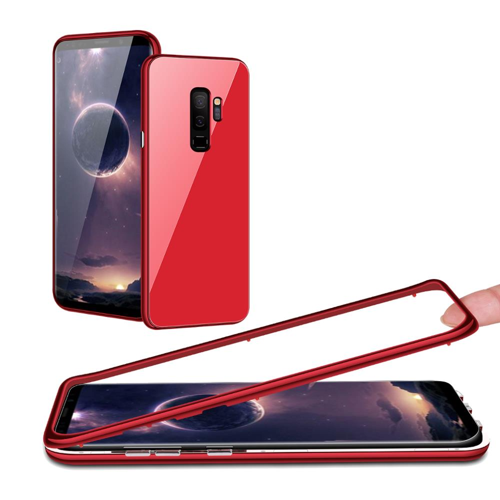 Bakeey Magnetic Adsorption Tempered Glass Back Cover+PC Bumper+Glass Screen Film Protective Case For Samsung Galaxy S9 Plus