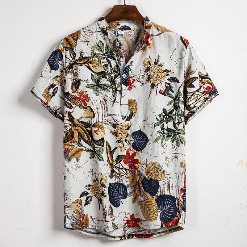 Män Tropiska Växter Tryck Kort Sleeve Oriental Henley Skjortor