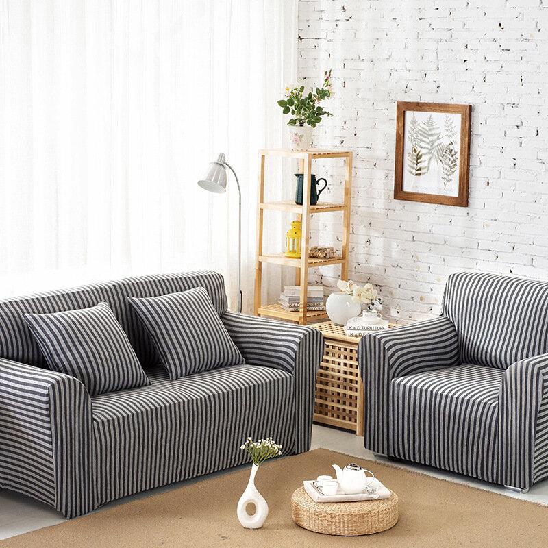 Sofá de algodão listrado sofá cobre esticar apertado envoltório slip-resistente protetor de sofá elástico Slipcover