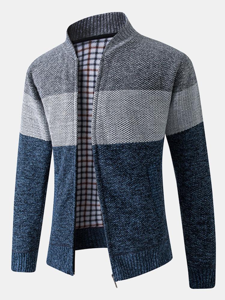 Banggood coupon: Mens Color Block Patchwork Rib-Knit Zip Front Cotton Cardigans With Pocket
