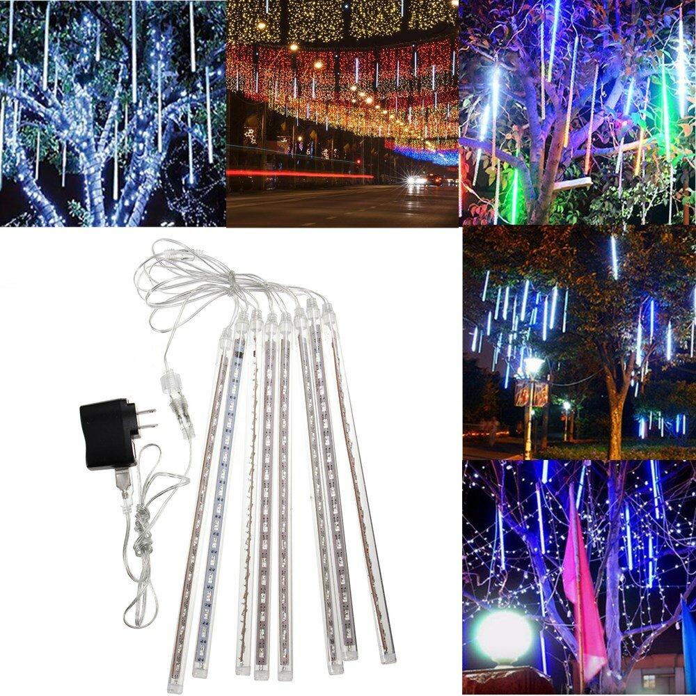 Outdoor 30cm USB LED Meteor Shower Rain 8 Tubes Xmas Light with US Plug
