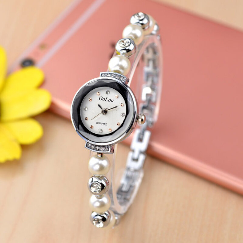 Fashion Diamond Elegant Pearl Lady Bracelet Watch Women Quartz Watch