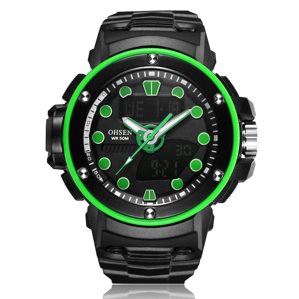 OHSEN AD1712 Dual Display Digital Watch Outdoors Sport Men Luminous Alarm Waterproof Watch