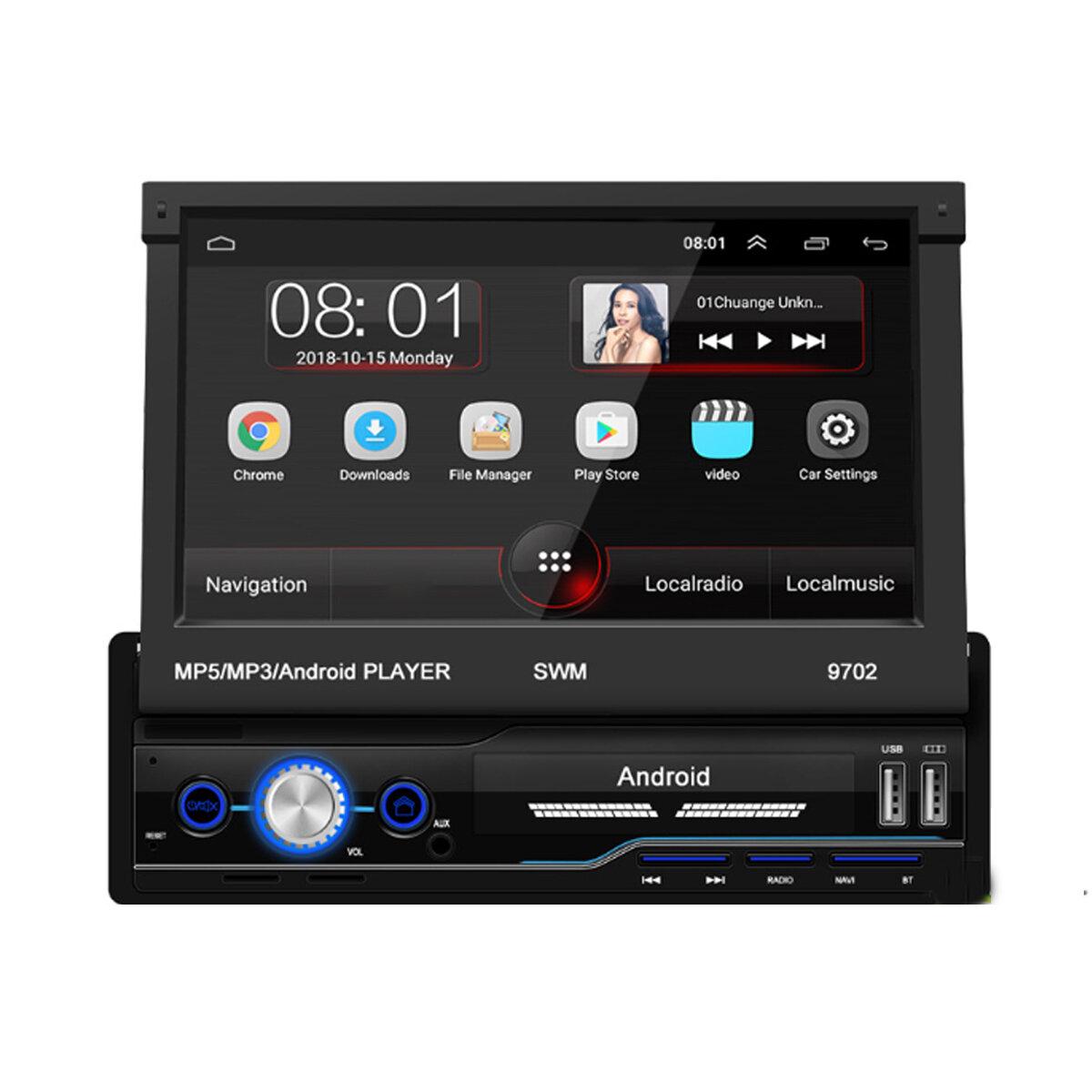7インチ1Din Android8.1カーラジオステレオMP5プレーヤー4コア1 + 16G格納式タッチスクリーンWIFIGPS Bluetooth FM AUX、4LEDバックアップカメラ付き
