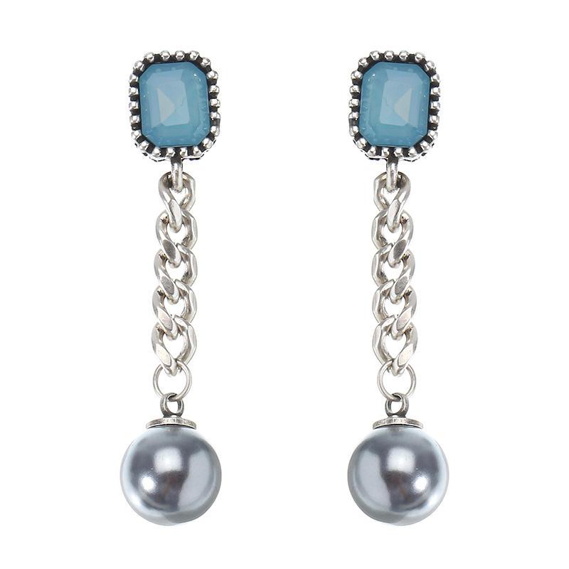 JASSY® Women Vintage Earring Antique Silver Pearl Link Chain Ear Drop Dangle Gift