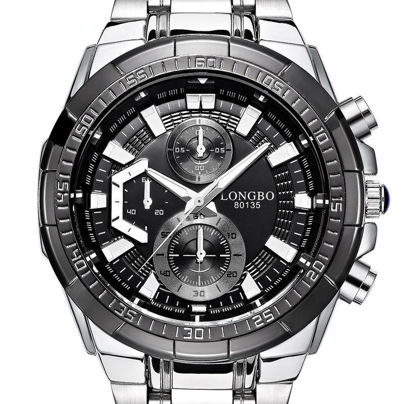 LONGBO 80135 Military Style Men Quartz Watch Luxury Stainless Steel Wristwatch