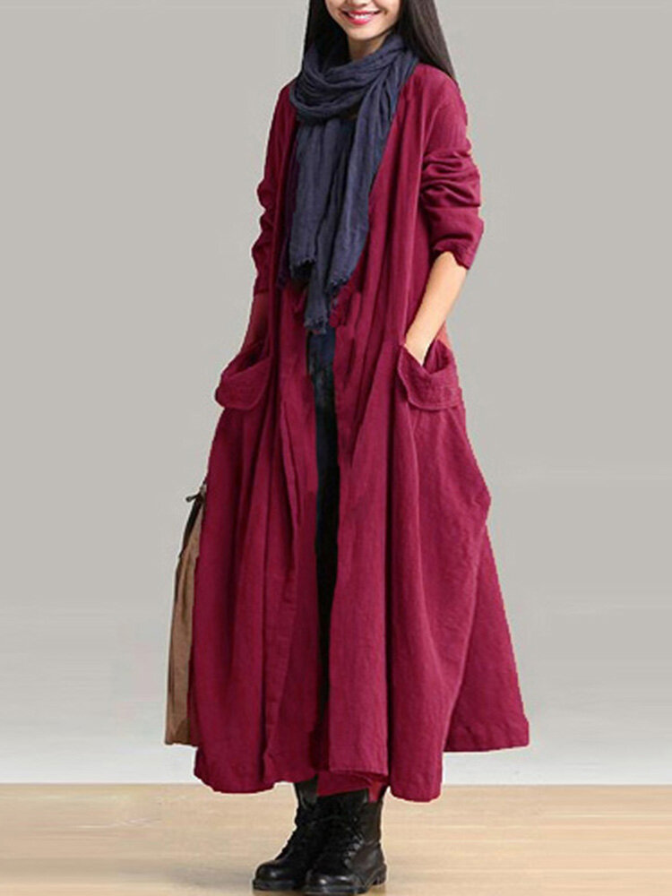 Casual Women Long Sleeve Solid Color Pockets Lace-up Long Outerwear Coats