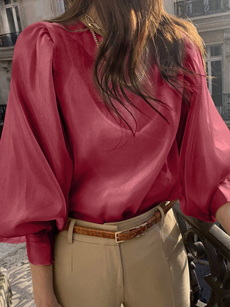 Women Puff Sleeve Back Button Spliced Solid Color Narrow Cuff Casual Blouses