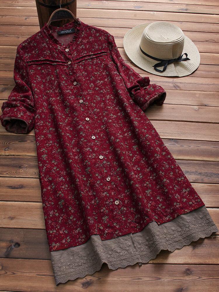Vintage Long Sleeve Floral Print Patchwork Embroidery Hem Dress