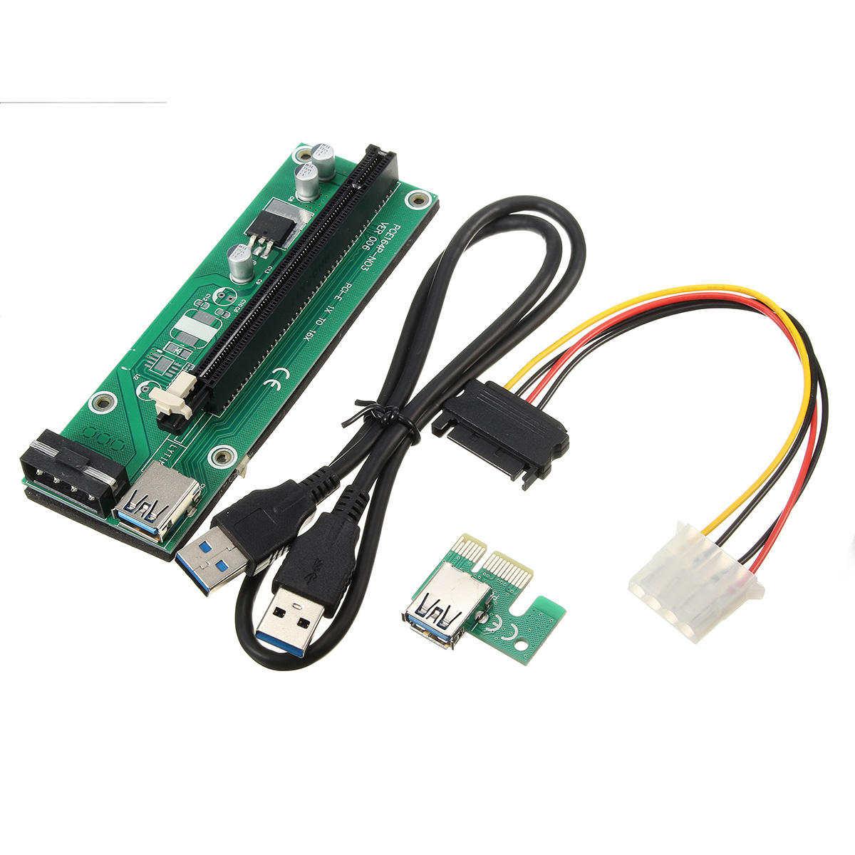 USB 3.0 PCI-E Express 1x to16x Extension Cable Extender Riser Card Adapter SATA Cable