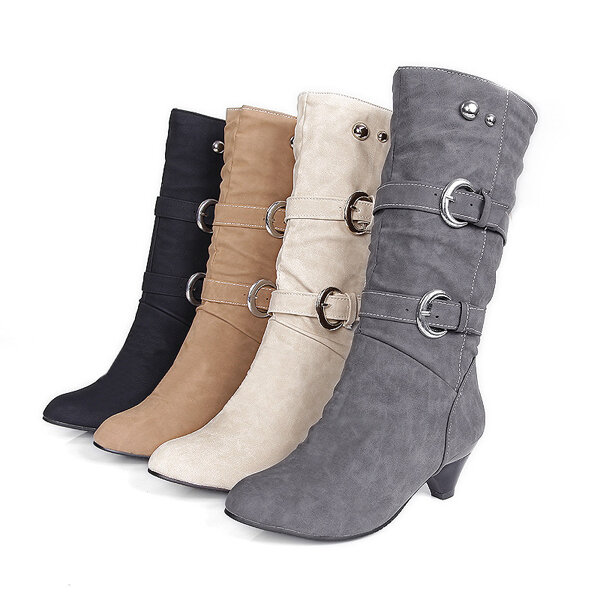 US Size 5-12 Women Mid-Calf Boots Slip On Casual Suede Soft Boots, Banggood  - buy with discount