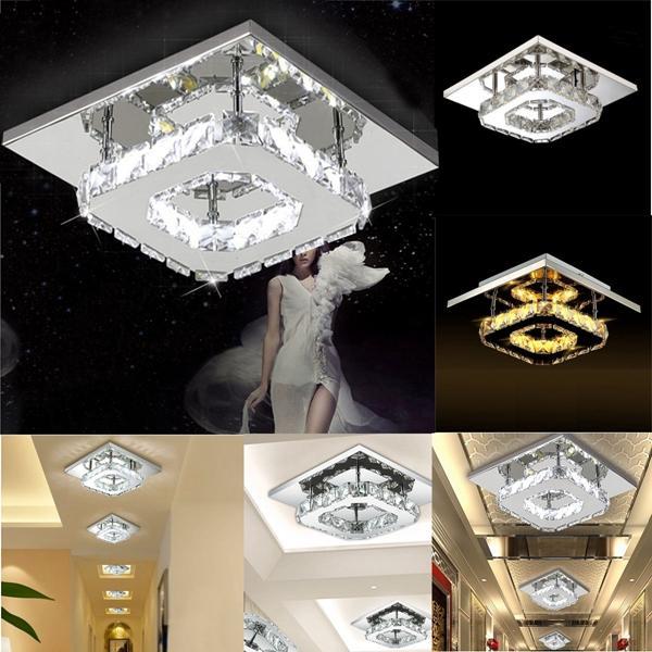 आधुनिक स्क्वायर क्रिस्टल एलईडी छत प्रकाश स्थिरता लटकन लैंप Chandelier होम सजावट