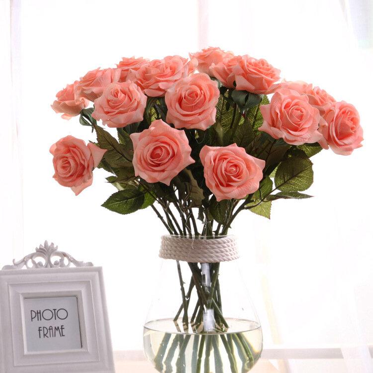 Flor Artificial de Rosa Flor Falsa de Una Sola Rama para Decoración de Casa Rosas de Seda que Humedecen Boda