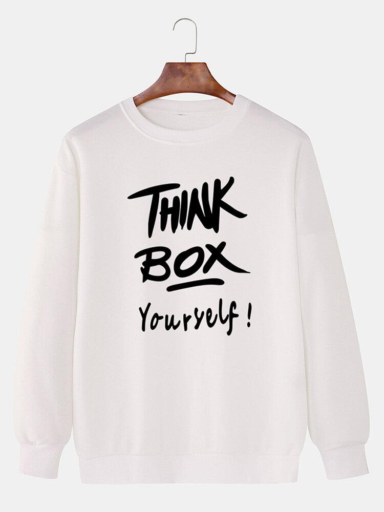 رجل THINK BOX إلكتروني طباعة جولة الرقبة البلوز القطن قطرة الكتف بلوزات عادية