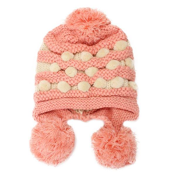 NEW Women Ladies Crochet Knitted Big Ball Mixed Color Earmuff Beanie Cap Earfl