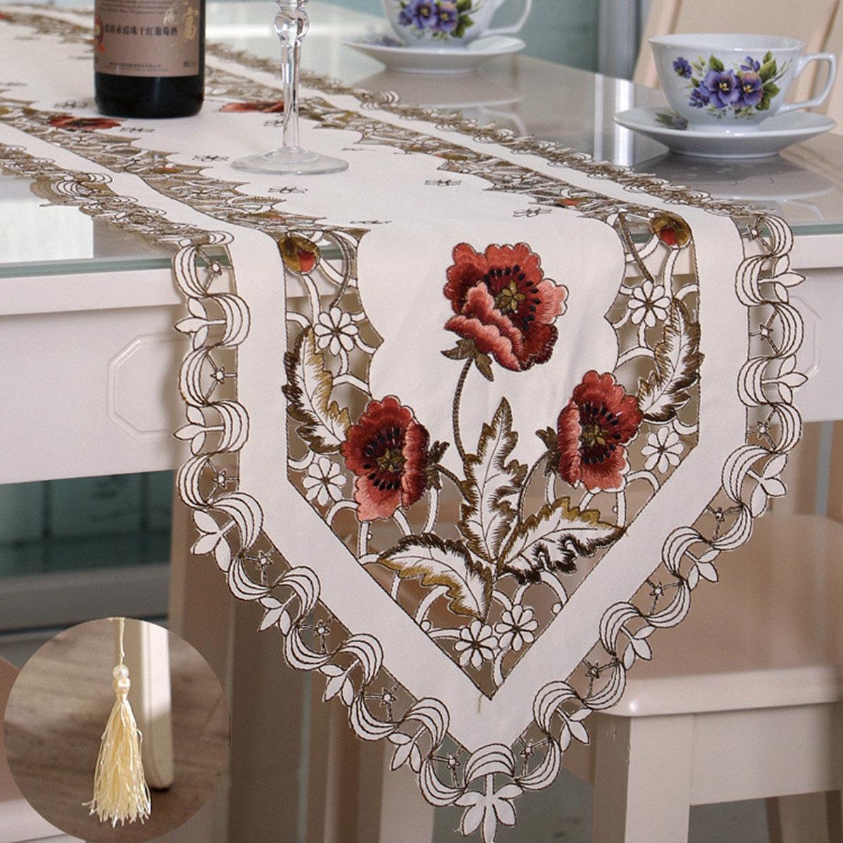 Flag corredor toalha de mesa flor pastoral com a borla casa casamento decoração de festa