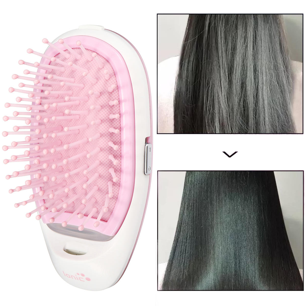 Portable Electric Ionic Hairbrush Takeout Mini Massage 3D Hair Brush Comb Small