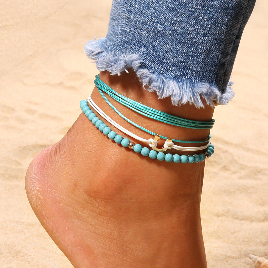 Bohemian blue beaded multilayer anklets jewelry for women Sale ...