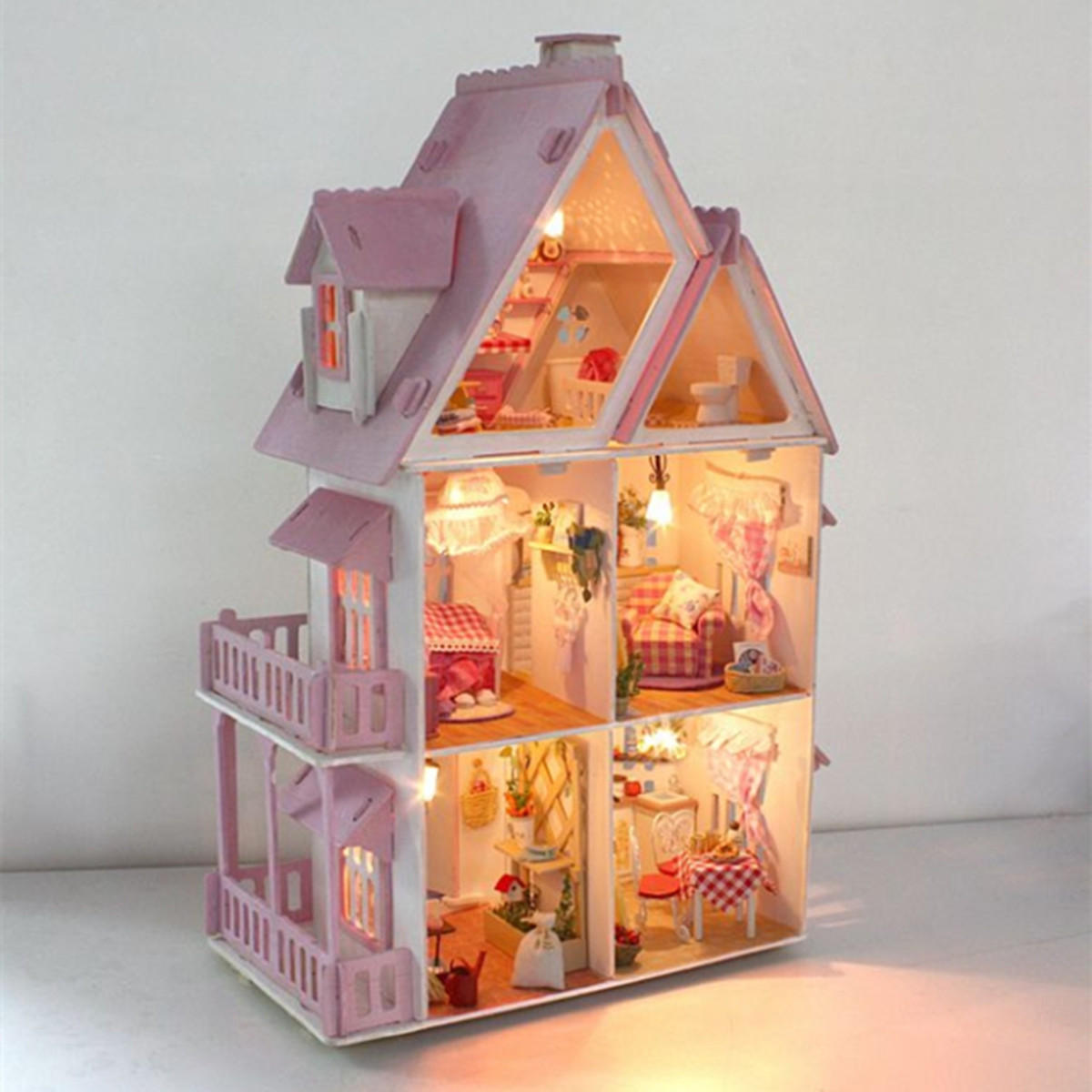 Large Wooden Kids Doll House Barbie Kit Girls Play Dollhouse